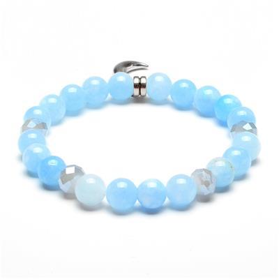 ELYA Moon Charm Light Blue Jade Stone Beaded Bracelet