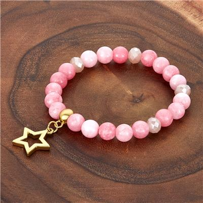 ELYA Star Charm Pink Jade Stone Beaded Bracelet