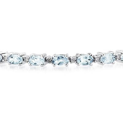 14k White Gold Diamond and Aquamarine Bracelet
