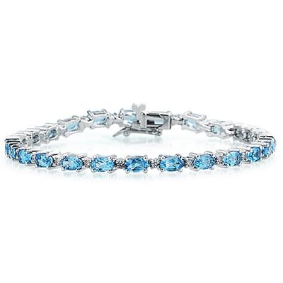 14k White Gold Diamond and Blue Topaz Bracelet