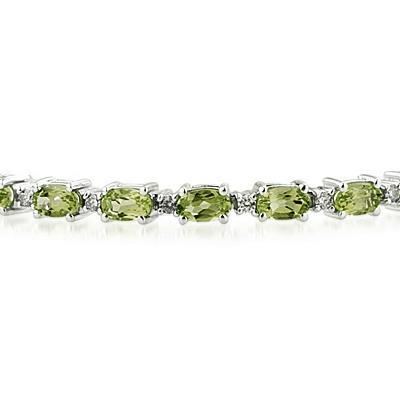 14k White Gold Diamond and Peridot Bracelet