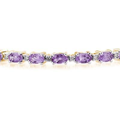14k Yellow Gold Diamond and Amethyst  Bracelet