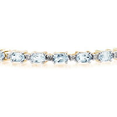 14k Yellow Gold Diamond and Aquamarine Bracelet