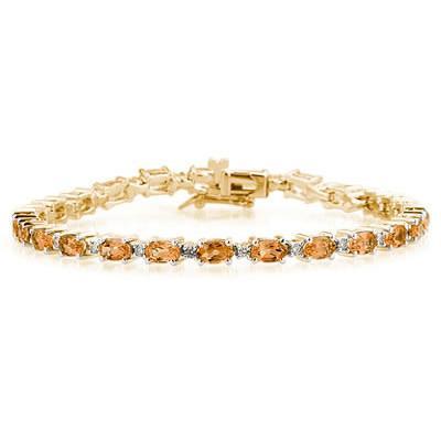 14k Yellow Gold Diamond and  Citrine    Bracelet