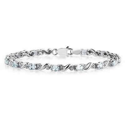 10k White Gold Diamond and   Aquamarine Bracelet