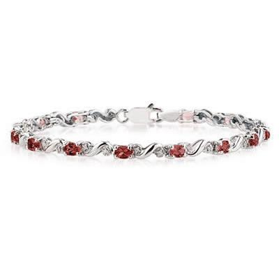10k White Gold Diamond and Garnet  Bracelet