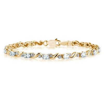 10k Yellow Gold Diamond and   Aquamarine Bracelet