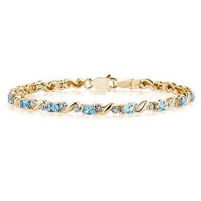 10k Yellow Gold Diamond and Blue Topaz Bracelet