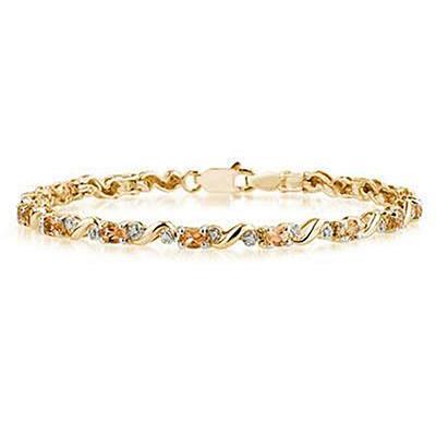 10k Yellow Gold Diamond and  Citrine  Bracelet