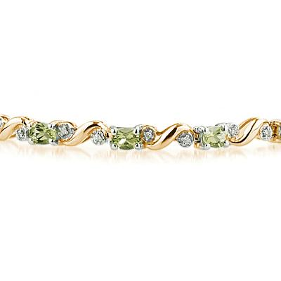 10k Yellow Gold Diamond and Peridot Bracelet