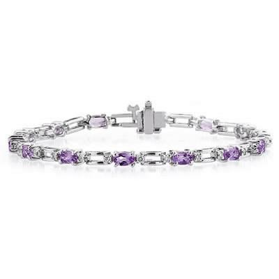 14k White Gold Diamond and Amethyst  Bracelet