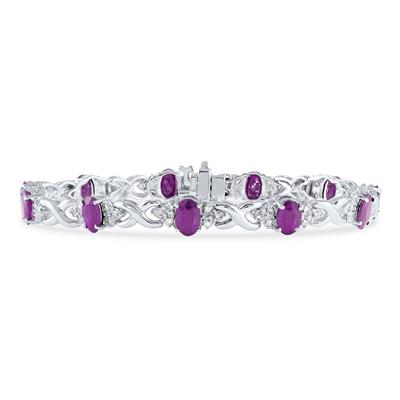 14k White Gold Diamond and  Amethyst  Bracelet