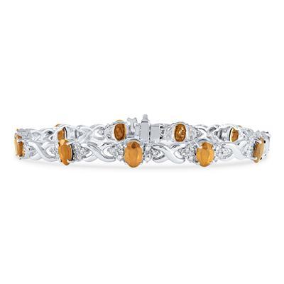 14k White Gold Diamond and  Citrine Bracelet