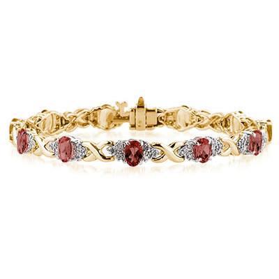 14k Yellow Gold Diamond and  Garnet Bracelet