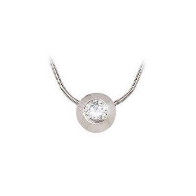 White Modern Diamond Bezel Solitaire Pendant
