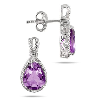 3.00 Carat Amethyst and Diamond Earrings in .925 Sterling Silver