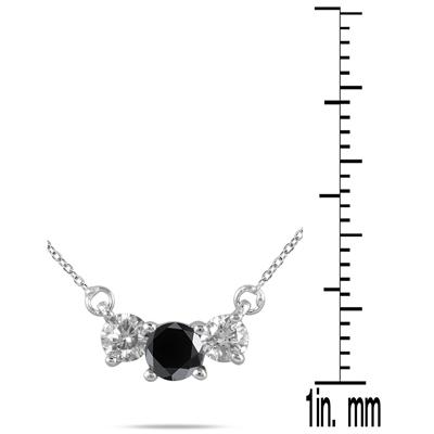1/2 Carat Black and White Diamond Three Stone Pendant in 14K White Gold