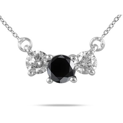 1 Carat TW Black and White Diamond Three Stone Pendant in 14K White Gold