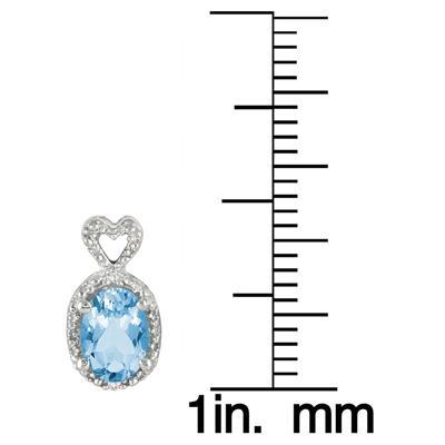 Swiss Blue Topaz and Diamond Heart Earrings in .925 Sterling Silver