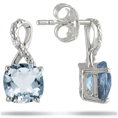 6mm Cushion Cut Sky Blue Topaz Earrings in .925 Sterling Silver