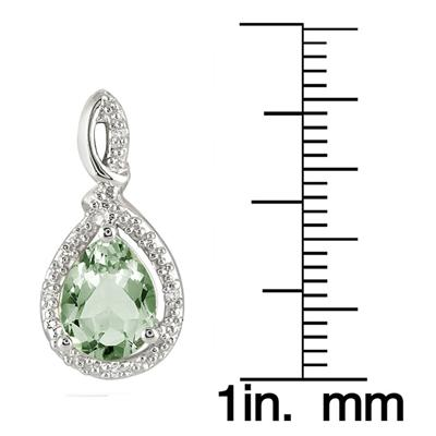 8x6mm Green Amethyst and Diamond Earrings in .925 Sterling Silver
