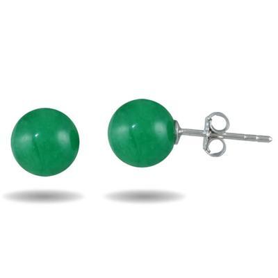 8mm Genuine Green Jade Stud Earrings in .925 Sterling Silver