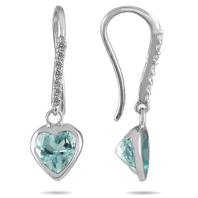 2 Carat Bezel Set Heart Shaped Aquamarine and Diamond Earrings in 14K White Gold