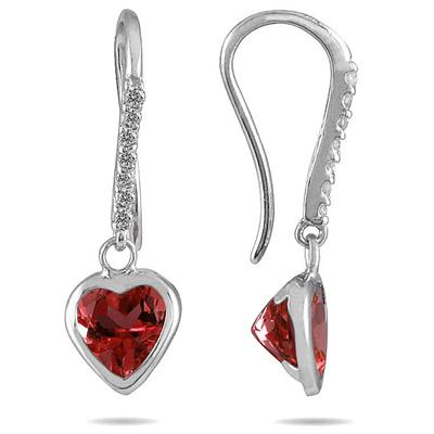 1 7/8 Carat Bezel Set Heart Shaped Garnet and Diamond Earrings in 14K White Gold