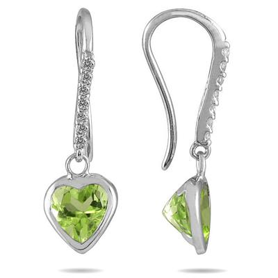 2 Carat Bezel Set Heart Shaped Peridot and Diamond Earrings in 14K White Gold