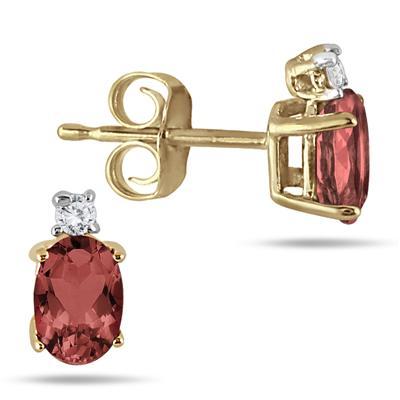 Oval Garnet Drop and Diamond Earrings in 14K Yellow Gold