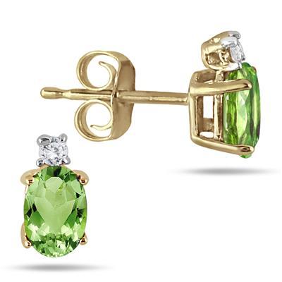 Oval Peridot Drop and Diamond Earrings in 14K Yellow Gold