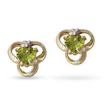 Peridot and Diamond Earrings in 14K Yellow Gold