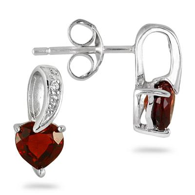 1/2 Carat Garnet and Diamond Drop Heart Earrings in .925 Sterling Silver