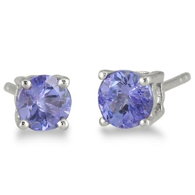 All Natural 5mm Tanzanite Stud Earrings in .925 Sterling Silver