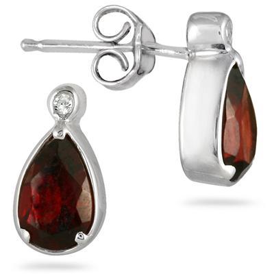 2 Carat Pear Shape Garnet and Diamond Earrings in .925 Sterling Silver