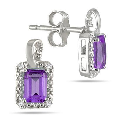 1.00 Carat Emerald Cut Amethyst and Diamond Earrings in .925 Sterling Silver