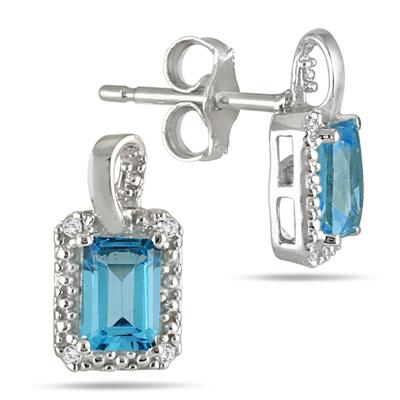 1.00 Carat Emerald Cut Blue Topaz and Diamond Earrings in .925 Sterling Silver