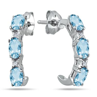 3/4 Carat Blue Topaz and White Topaz Hoop Earrings in .925 Sterling Silver
