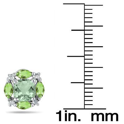 Green Quartz, Peridot and Topaz Earrings in .925 Sterling Silver