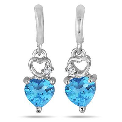 Double Heart Blue Topaz and Diamond Dangle Earrings in .925 Sterling Silver