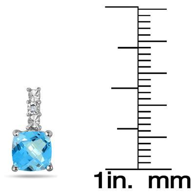 1.25 Carat Cushion Cut Blue Topaz Earrings in .925 Sterling Silver