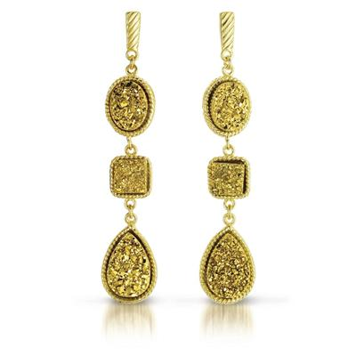 18K Gold Plated Genuine Druzy Quartz Dangle Earrings in .925 Sterling Silver