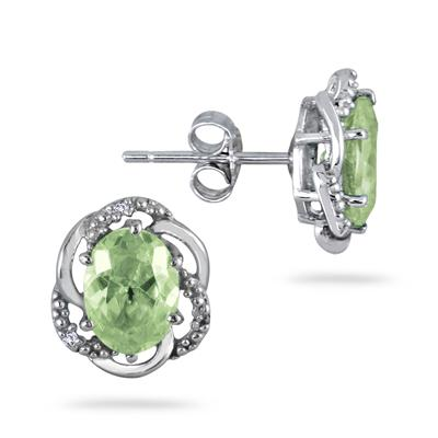 2.25 Carat Oval Green Amethyst And Diamond Earrings in .925 Sterling Silver