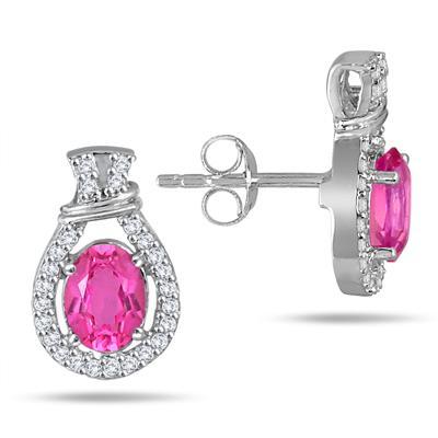 1.80 Carat Oval Pink Topaz & Diamond Earrings in .925 Sterling Silver