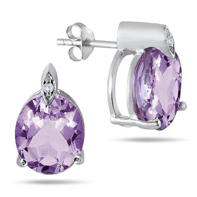 9 Carat Oval Amethyst and Diamond Earrings in .925 Sterling Silver