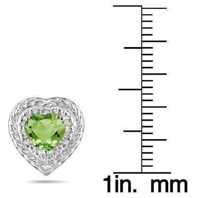 1.50 Carat Heart Shaped Peridot & Diamond Earrings in .925 Sterling Silver