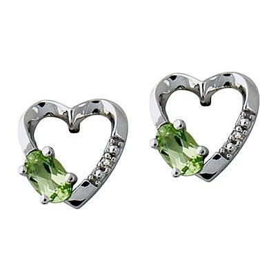 14-kt. Peridot and Diamond Earrings in White Gold
