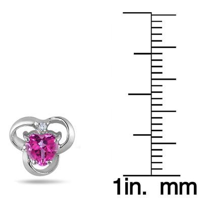 5MM Heart Shape Pink Topaz and Diamond Earrings in .925 Sterling Silver