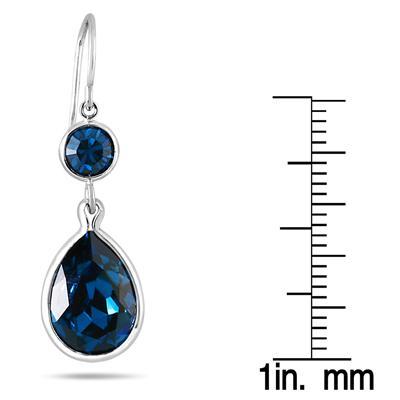 Genuine Swarovski London Blue Crystal Drop Earrings in .925 Sterling Silver