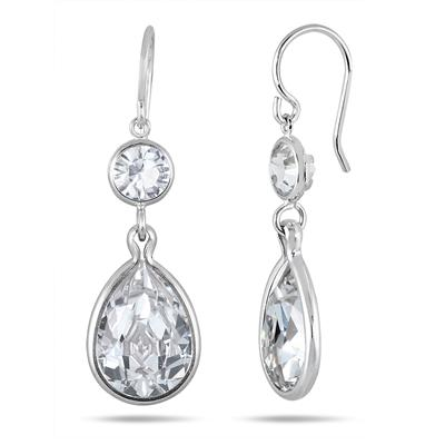 Genuine Swarovski White Crystal Drop Earrings in .925 Sterling Silver